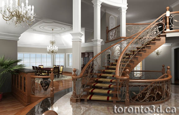 3d archiitectural rendering interior classic family room for Classic house interior