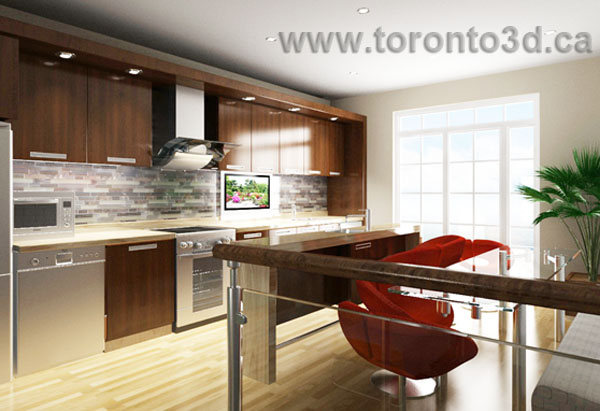 interior design visualization modern kitchen