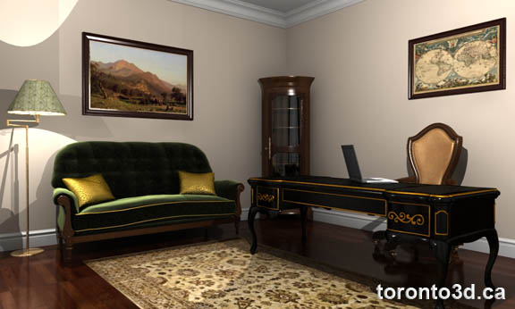 Interior design classical home office visualization
