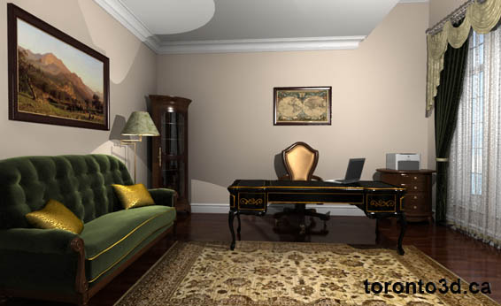 Home office interior design rendering