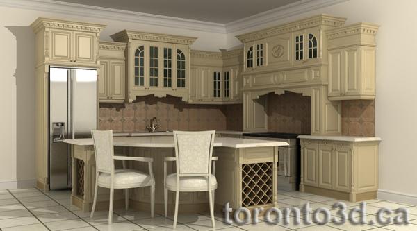 3d Archiitectural Rendering Interior Classic Kitchen Best Design