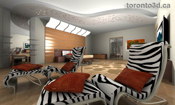 Interior bedroom rendering
