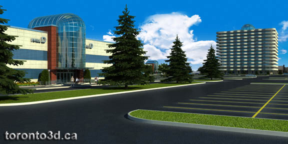 Architectural visualization Airport Trade Centre in Toronto by toronto3d.ca