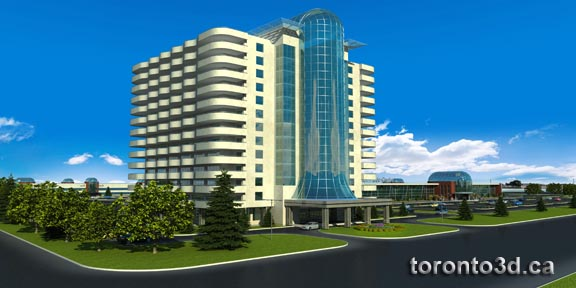Architectural visualization Hotel Airport Trade Centre in Toronto by toronto3d.ca