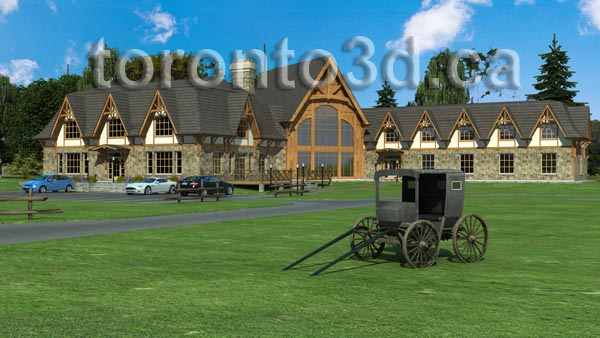 Architectural visualization Timber Frame Motel and Spa with heritage wagon