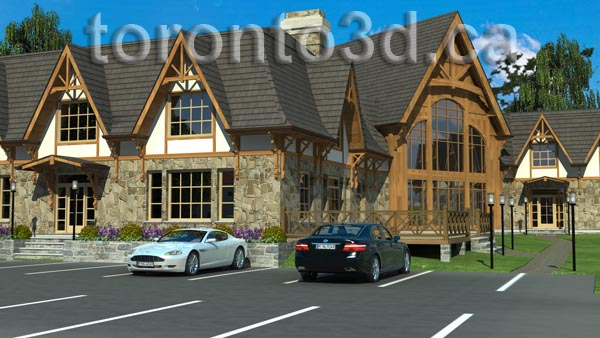 Architectural visualization Timber Frame Motel and Spa