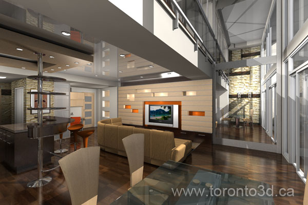 This Apartment Building Centrally Located In Downtown Toronto In A  Beautiful Area. Interior Design Visualization