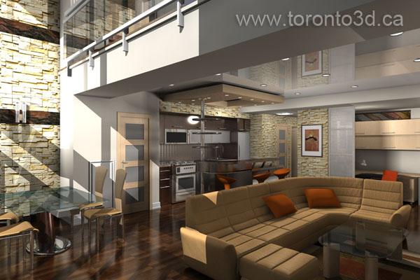 interior design visualization open concept area